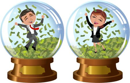 money rain: Successful businesswoman and businessman exulting and jumping under money rain isolated inside snowglobe