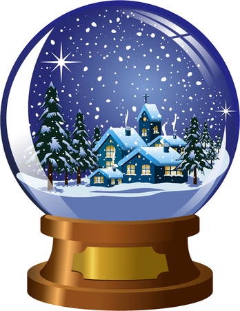 Inside snowglobe with christmas winter nighttime landscape under snowfall isolated