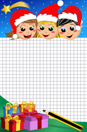 paper hats: happy kids with xmas hats at Christmas night looking down at blank sheet of squared paper
