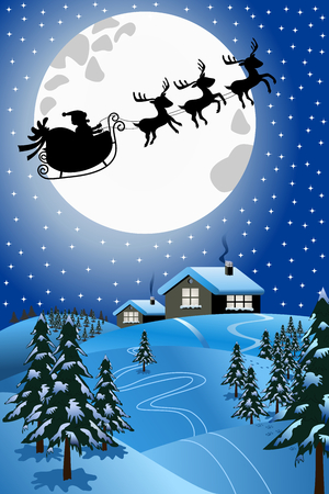pulled over: Christmas Night with silhouette of Santa Claus in his sled or sleigh pulled by reindeer flying over winter snowy landscape Illustration