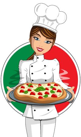 Italian Woman in Uniform Cook serving pizza isolated