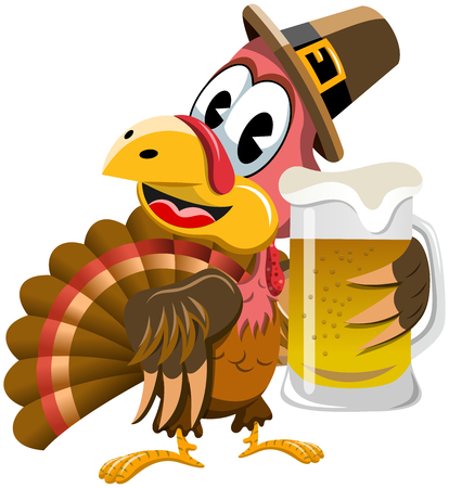 Happy Thanksgiving Turkey Holding Beer mug isolated Vectores