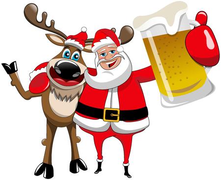 Reindeer Christmas Santa Claus Hug Beer Mug
