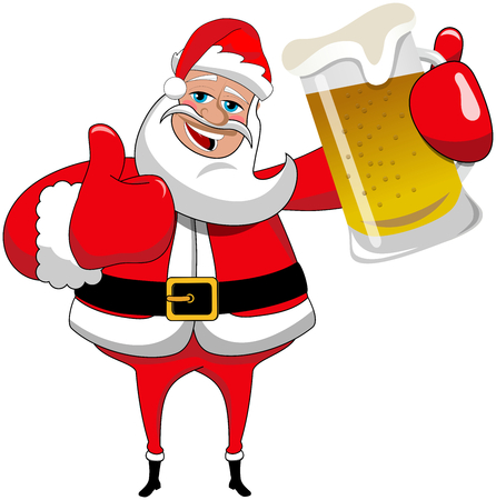 Happy Santa Claus with thumb up and beer mug isolated on white