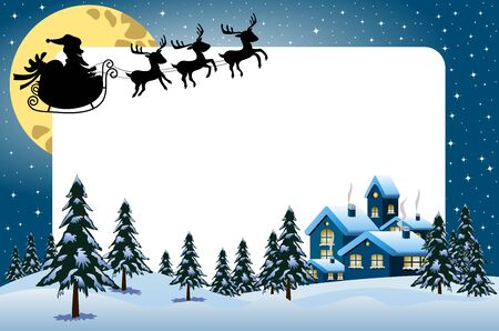 snow landscape: Xmas frame featuring silhouette of Santa Claus flying with sleigh at night over xmas snowy landscape