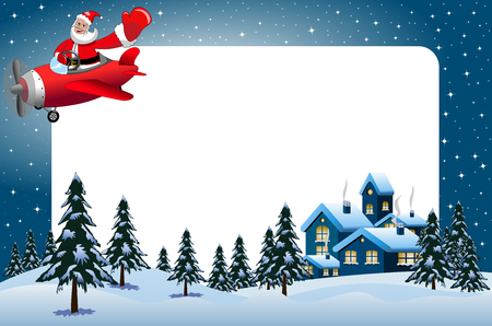 snow landscape: Xmas frame featuring Santa Claus flying on airplane at night over xmas snowy landscape