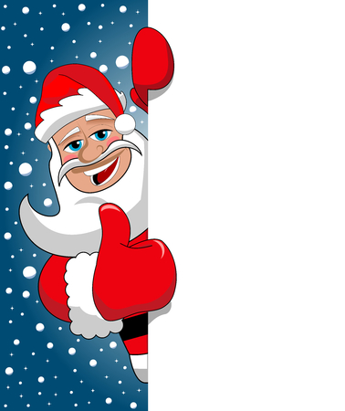 snowing: Santa Claus Thumb Up behind blank white billboard sign against blue starry sky snowing Illustration