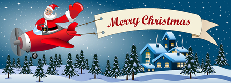 산타 클로스 만화 크리스마스 눈 덮인 풍경을 통해 밤에 메리 크리스마스 메시지 배너와 함께 비행기에 비행