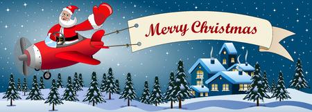 pilotos aviadores: De santa claus dibujos animados de volar en avión con la bandera feliz mensaje de navidad en la noche en Navidad paisaje nevado