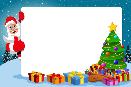 xmas: Santa claus with thumb up behind blank horizontal frame with decorated xmas tree full of gift boxes