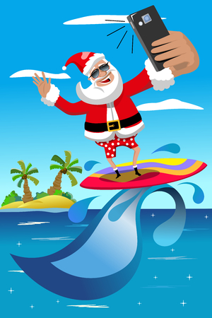 Santa Claus surfing and taking selfie in tropical sea Stock Illustratie