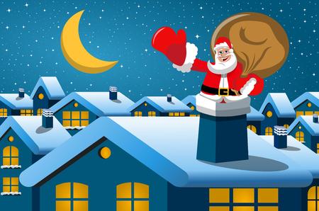 Santa Claus stuck in the chimney at christmas night