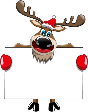 Cartoon reindeer holding blank white billboard sign isolated