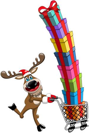 reno: Reno corriente feliz y empujando carro lleno de regalos aislados