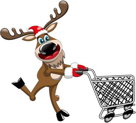 pushing: Reindeer running and pushing empty cart isolated Illustration