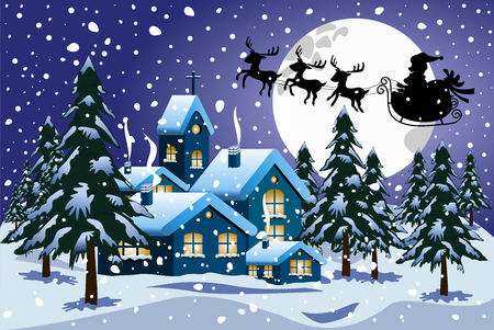 Silhouette of santa claus on sleigh or sled in winter christmas nighttime flying over little town under snowfall
