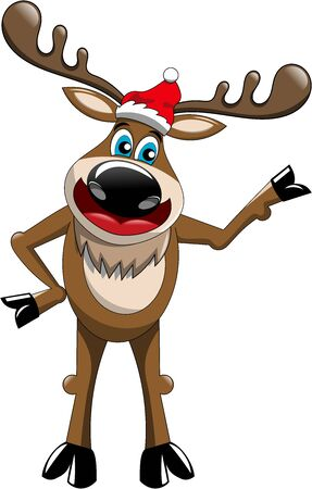 presenting: Standing cartoon funny reindeer presenting isolated