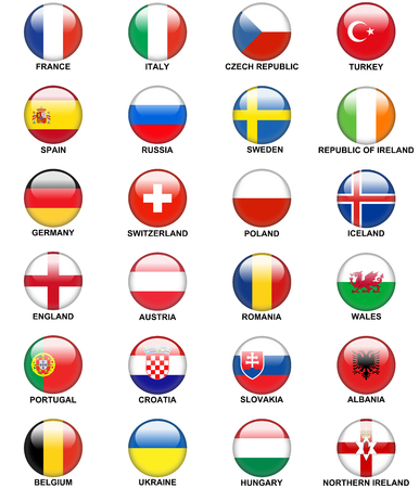 glossy round buttons or badges Concerning flags of European countries Participating to the final tournament of Euro 2016 football championship isolated