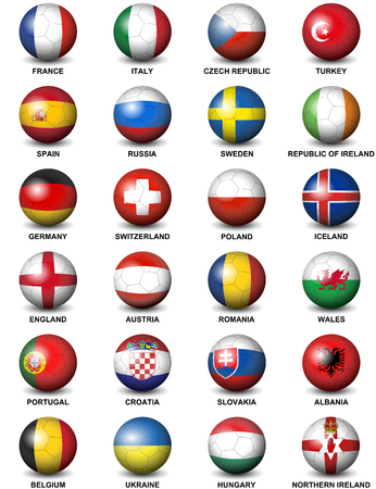 Concerning soccer balls flags of European countries Participating to the final tournament of Euro 2016 football championship isolated