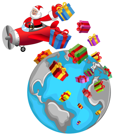 airplane: Santa Claus cartoon flying on airplane and delivering gifts over the whole world at Christmas