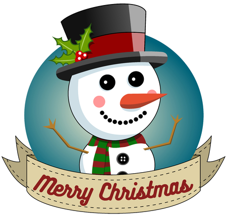wishing: Snowman wishing Merry Christmas in Round Frame isolated Illustration