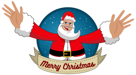 wishing: Happy Santa Claus with open arms wishing Merry Christmas in Round Frame isolated