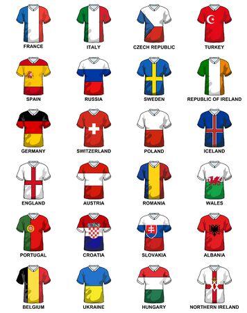 유로 2016 축구 선수권 대회의 최종 토너먼트에 참여하는 유럽 국가의 국기와 함께 티셔츠
