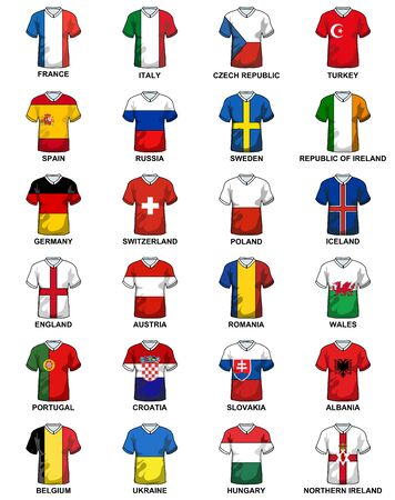 european countries: t-shirts with flags of european countries Participating to the final tournament of Euro 2016 football championship