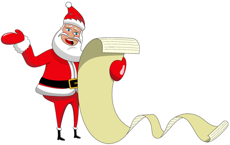 complaining: Complaining cartoon Santa Claus reading wishing list long isolated