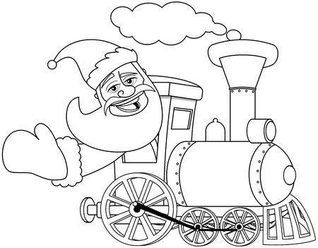 steam locomotive: Cartoon Santa Claus driving steam locomotive for coloring book isolated Illustration