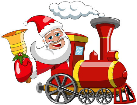 steam locomotive: Cartoon Santa Claus driving steam locomotive and ringing bell isolated xmas