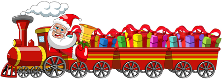 wagons: Cartoon Santa Claus Delivering gifts driving steam locomotive with three wagons isolated Illustration