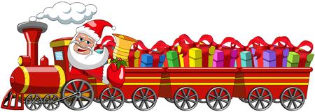 Cartoon Santa Claus leveren van giften rijden stoomlocomotief met geïsoleerde drie wagons Stock Illustratie