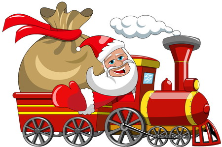 wagon: Cartoon Santa Claus Delivering Big Sack isolated by steam train