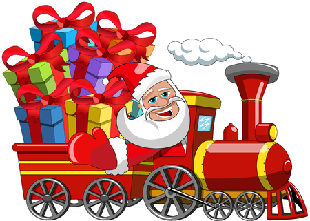 Cartoon Santa Claus Delivering gifts by steam train isolated