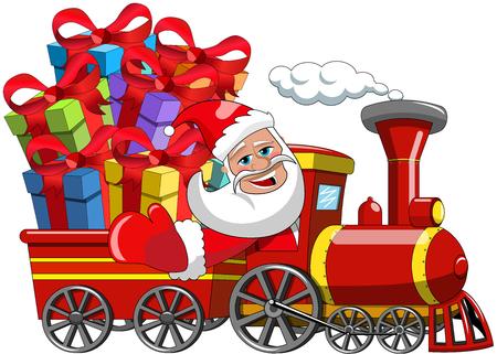 tren caricatura: Dibujos animados de Santa Claus entrega de regalos por el tren de vapor aislado