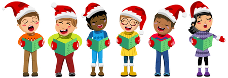 cartoon singing: Multicultural kids wearing xmas hat and singing Christmas carol isolated