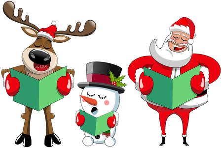 크리스마스 캐롤을 노래하는 만화 산타 클로스 순록과 눈사람