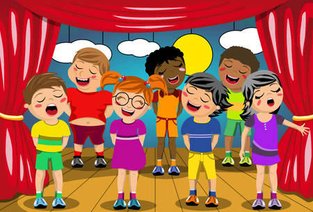 child singing: Multicultural kids singing on stage at school play