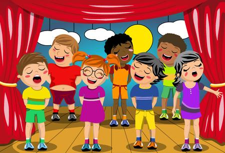 Niños multiculturales que cantan en el escenario del juego de la escuela Foto de archivo - 49549049