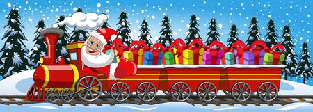 Cartoon Santa Claus leveren van giften rijden stoomlocomotief met drie wagens in de sneeuw