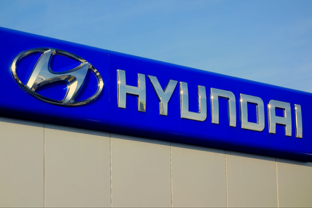 manufacturer: Rome, Italy - December 2015: Hyundai Sign in Rome, Italy Editorial