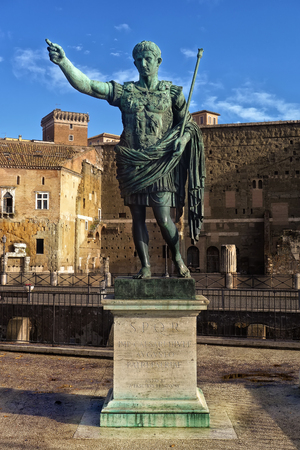 located: Statue of the first emperor of Rome, Augustus, located near His Own Forum in Rome Editorial
