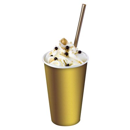 pralines: Hazelnut milkshake with straw garnished with hazelnut and chocolate pralines isolated
