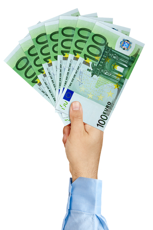 payola: Businessman hand holding fan of 100 Euro Banknotes isolated