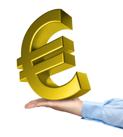 winning bid: Hand holding big golden euro symbol isolated Stock Photo