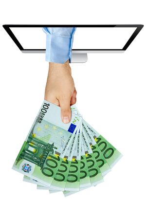 payola: Businessman hand holding fan of 100 Euro Banknotes coming out from computer screen isolated
