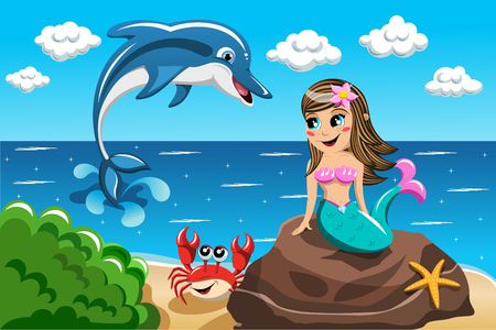 Smiling little Mermaid sitting on the rock watching jumping dolphin Ilustração
