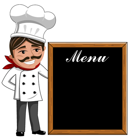blackboard isolated: Smiling Chef looking at menu on blackboard isolated