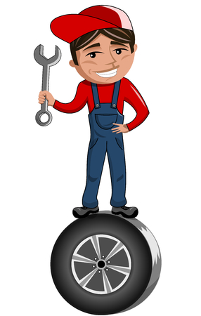 car tyre: Cartoon mechanic holding spanner and standing on car tire isolated
